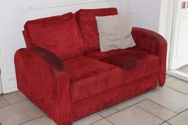 Red 2 seat sofa, good condition, best offer