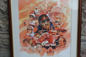 Large Ltd Edition Print Commerating 50 Years Ferrari Racing by Craig Warwick Signed Framed