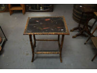 Retro Bamboo Side Ocassional Table Vintage Chinoiserie Style