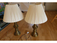 Two Brass Effect Table Lamps- 68cm High