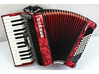 Hohner Bravo 48 Bass - Demo Model - 2 Voice Piano Accordion - Red Pearl Finish - Very Light Weight