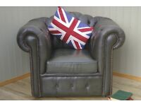 Stunning Green Leather Chesterfield Camel Back Club Chair.