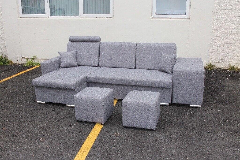 Modern Corner Sofa Bed With Puffs