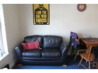 Very Comfy Black Leather 2 Seater Sofa