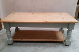 Solid Pine Rustic Coffee Table Shabby Chic Grey Legs