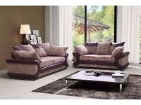 NEW DINO SOFAS 3+2 SEATER JUMBO CORD AND LEATHER GREY BLACK & BEIGE BROWN