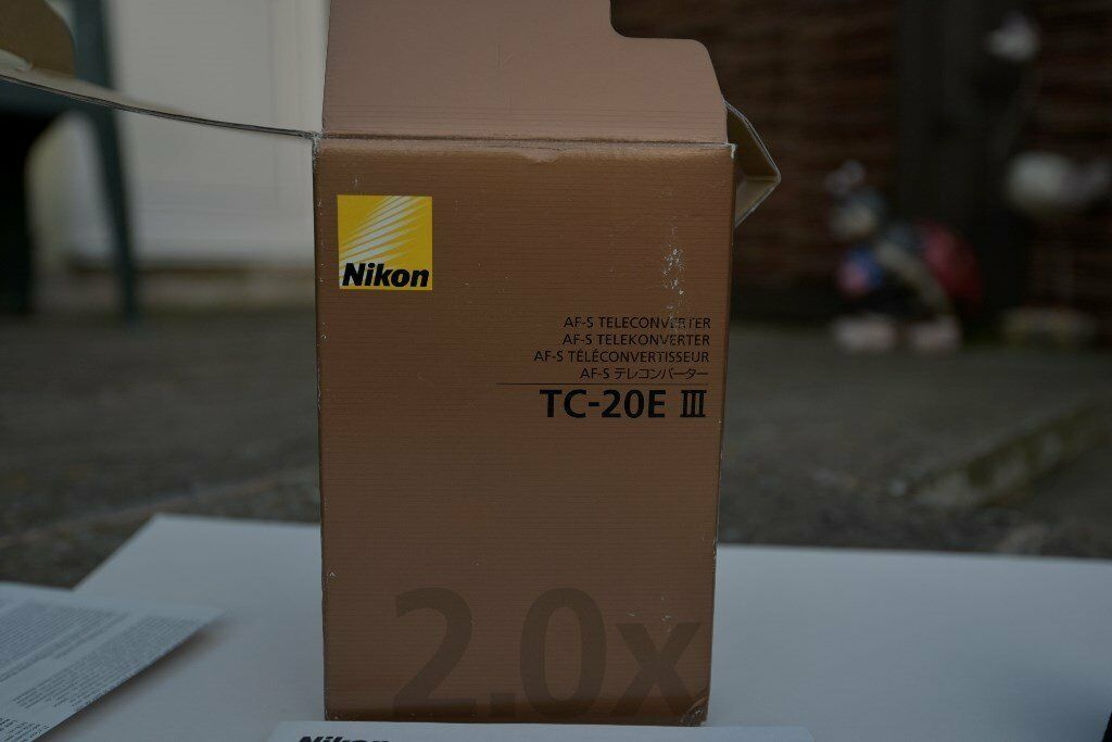 Nikon AF S Teleconverter TC 20E III FX AF S Lensin Macclesfield, CheshireGumtree - I have for sale a superb quality Nikon AF S Teleconverter TC 20E III FX AF S Lens. This lens is in immaculate condition and has only been used a couple of times. There are no marks on the Glass or body and it has been kept in its own soft pouch. It...