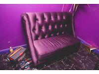Purple settee measuring 56inch x 30 inch