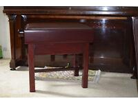 Piano Stool, adjustable - professional stool with medium mahogany finnish.
