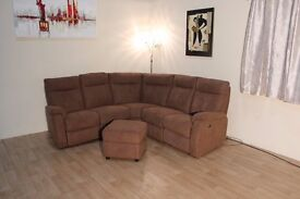 Ex-display Jemima brown fabric electric recliner corner sofa and footstool