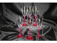 6 Piper Champagne flutes with pink stems