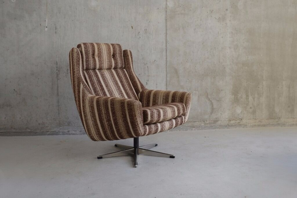 Danish 1970's mid century striped upholstered swivel armchair