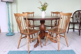 QUALITY SOLID PINE ROUND TABLE 4 CHAIRS - UK WIDE DELIVERY