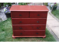 solid pine 5 draw chest of draws