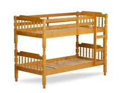 3FT Single Solid Pine Bunk Bed in Honey Pine, Spindle Style.