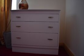 White, Hand-Painted, Chest Of Drawers