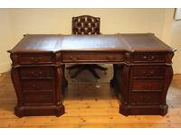 Large Antique Style Solid Mahogany Twin Pedestal Leather Top Writing Desk