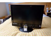 "TV FREEVIEW DVD 22"" IPOD DOCK Full working order"