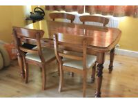 Solid wood dining table + 4 chairs