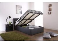 Ottoman Gas Lift Up Storage Bed Black Brown White (Black, 4ft6 Double)