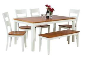 Boswell Six Piece Dining Set In Oak And White