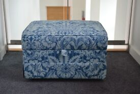 Storage Footstool Blue/White Material