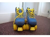 Retro style blue and yellow rollerskates for sale!