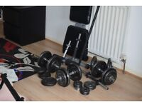 03 pro wight plates/bench/ 7 bars/ very good condition