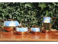 Vintage Gibson and Sons Tea Set Wedgwood jasper Style Teapot Milk Jug Creamer Sugar Bowl
