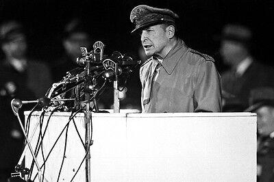 New 5x7 Korean War Photo: Gen. Douglas MacArthur Speech at Soldier's Field