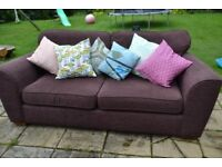 Dark purple 3 seater fabric sofa from Next