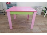 Early Learning centre Pink wooden table and 2 chairs