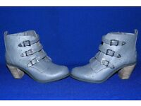 Ladies Grey Ankle Boots size 8