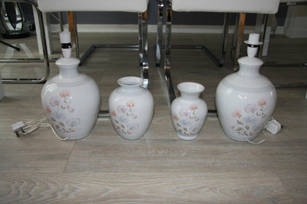 Denby Dauphine Lamps 2 No And Matching Vases 2 No Excellent