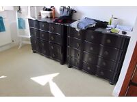 Chest of Drawers (x2) black, mint condition from 'Maison Du Monde'