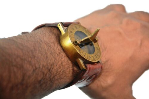 Antique Steampunk Wrist Brass Compass & Sundial-Watch With Leather Strap Sundial