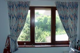 Colourful, Lined, Window Curtains
