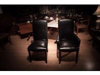 One of a Kind Italian Black Leather Chairs