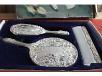 3 piece dressing table set (silver plated)