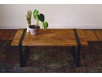 Handmade Industrial Coffee Table Beautiful Ash Heartwood