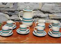 Stunning Vintage Handpainted Honiton Art Pottery Coffee Set Tea Service Teapot Cup Saucer Blue