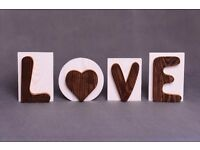Wooden sign LOVE, wooden letters, home decoration, ornament of wood, rustic home decor, 3d letters