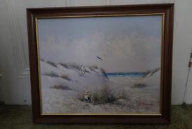 Girl on sand dunes original painting