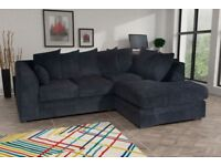 Amazing BRAND NEW black jumbo cord corner sofa ,any side in stock,can deliver