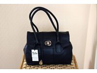 Tula ladies leather navy handbag.
