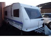 2008 HOBBY 540 UK. 4 BERTH. MOTOR MOVER. FRONT LOUNGE. FIXED SINGLE BEDS. FULL REAR BATHROOM.