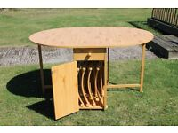 Only Used Once Wooden Drop Leaf Table with 4 Chairs