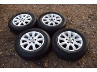 "Genuine 15"" Volkswagen VW Mk5 Golf Misano Alloy Wheels 195/65R15 Uniroyal Tyres 1K0601025A"