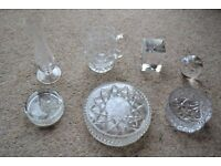 SELECTION OF 7 ASSORTED CUT GLASS ITEMS ALL IN VERY GOOD CONDITION