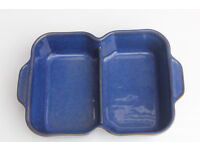 Denby Blue Divided Serving Dish Stoneware Dinnerware Oven Dish Bowl